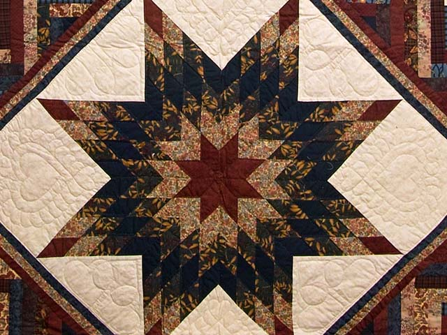 Navy and Multicolor Lone Star Log Cabin Quilt Photo 3