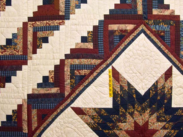 Navy and Multicolor Lone Star Log Cabin Quilt Photo 4