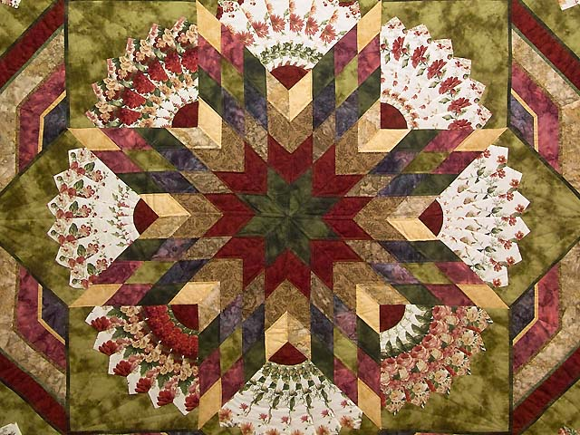 Rose and Moss Green Bertha Quilt Photo 3