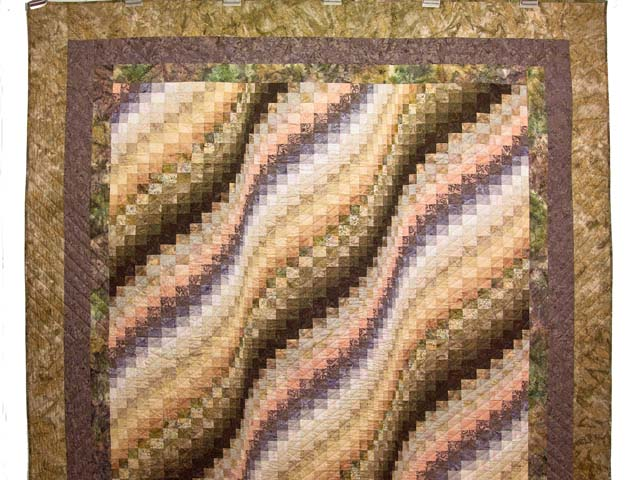 Plum Moss and Salmon Bargello Wave Quilt Photo 2