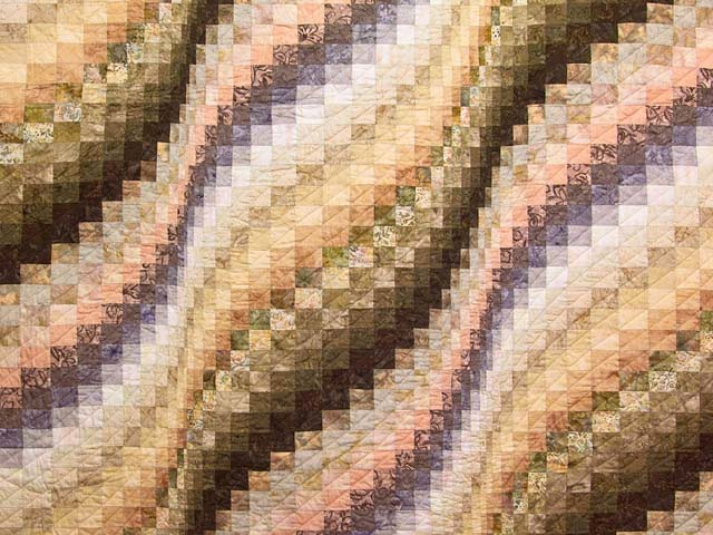 Plum Moss and Salmon Bargello Wave Quilt Photo 3