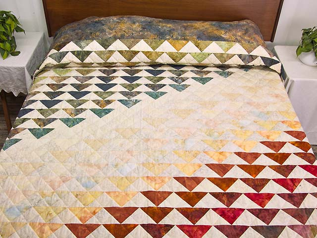 Hand Painted Rainbow Pyramid Quilt Photo 1