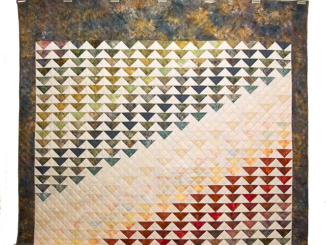 Hand Painted Rainbow Pyramid Quilt Photo 2