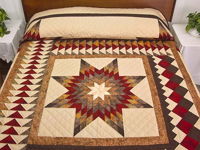 Fire Red Gold and Brown Star Quest Quilt Photo 1