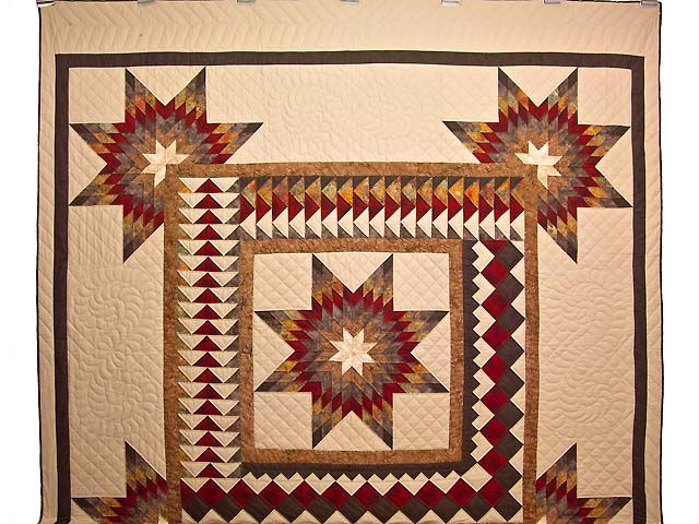 Fire Red Gold and Brown Star Quest Quilt Photo 2