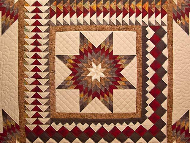 Fire Red Gold and Brown Star Quest Quilt Photo 3