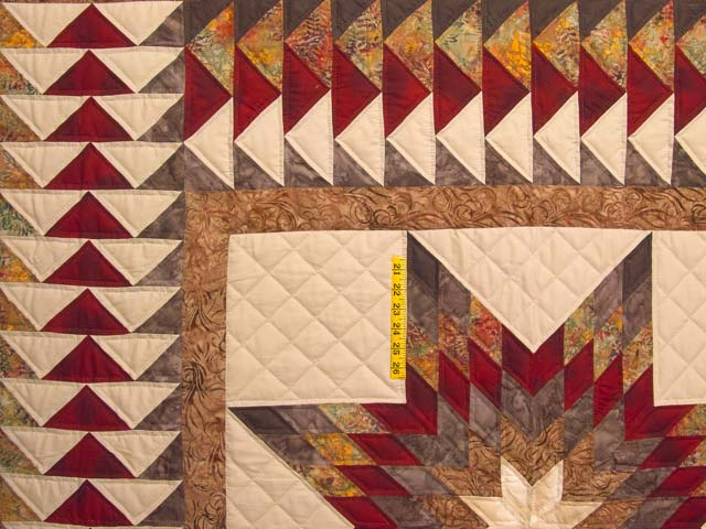 Fire Red Gold and Brown Star Quest Quilt Photo 4