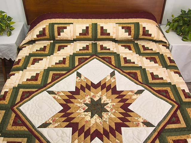 King Green Burgundy and Gold Lone Star Log Cabin Quilt Photo 1