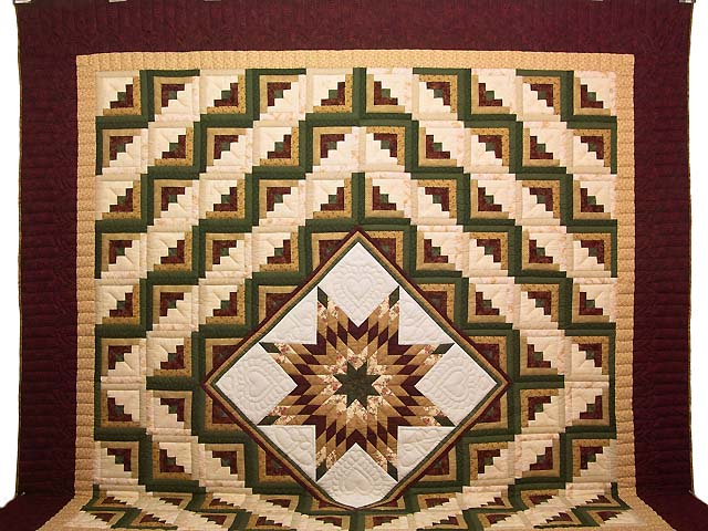 King Green Burgundy and Gold Lone Star Log Cabin Quilt Photo 2