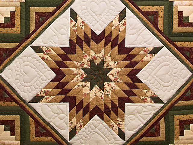 King Green Burgundy and Gold Lone Star Log Cabin Quilt Photo 3
