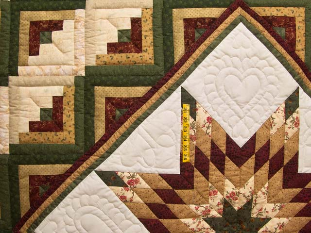 King Green Burgundy and Gold Lone Star Log Cabin Quilt Photo 4