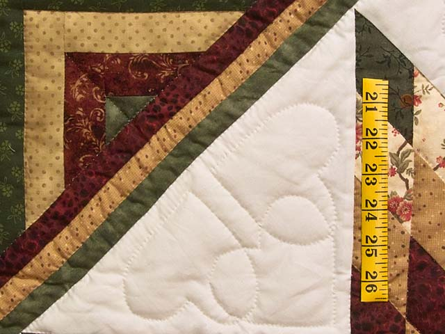 King Green Burgundy and Gold Lone Star Log Cabin Quilt Photo 5