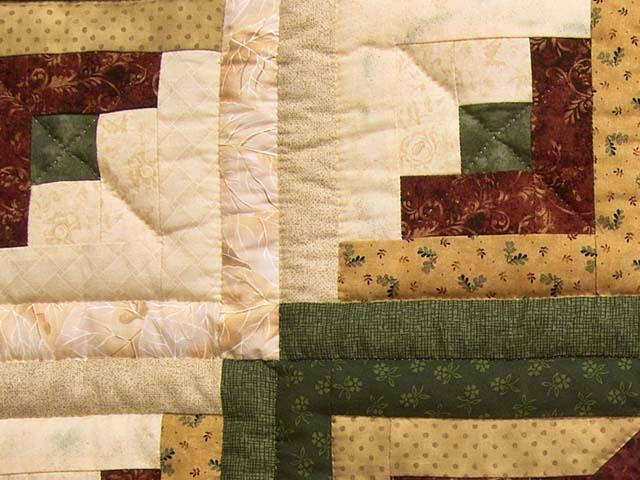 King Green Burgundy and Gold Lone Star Log Cabin Quilt Photo 6