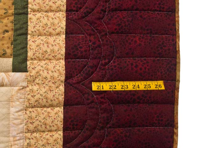 King Green Burgundy and Gold Lone Star Log Cabin Quilt Photo 7