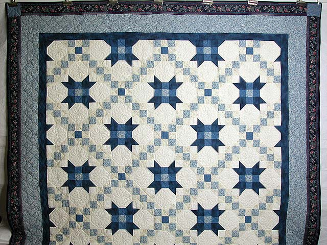 Blue and Cream Snowball Quilt Photo 2