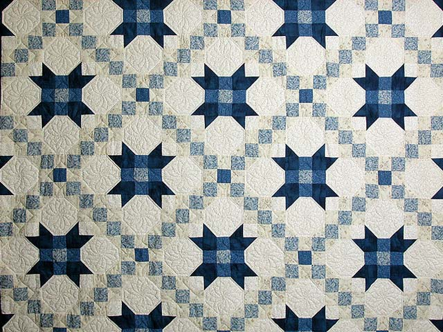 Blue and Cream Snowball Quilt Photo 3