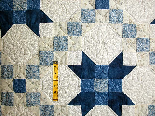 Blue and Cream Snowball Quilt Photo 4
