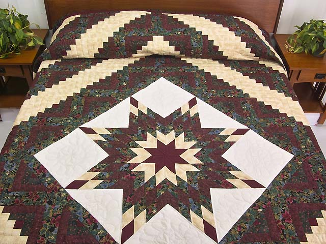 Burgundy Gold and Teal Lone Star Log Cabin Quilt Photo 1