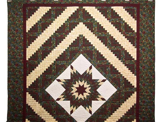 Burgundy Gold and Teal Lone Star Log Cabin Quilt Photo 2