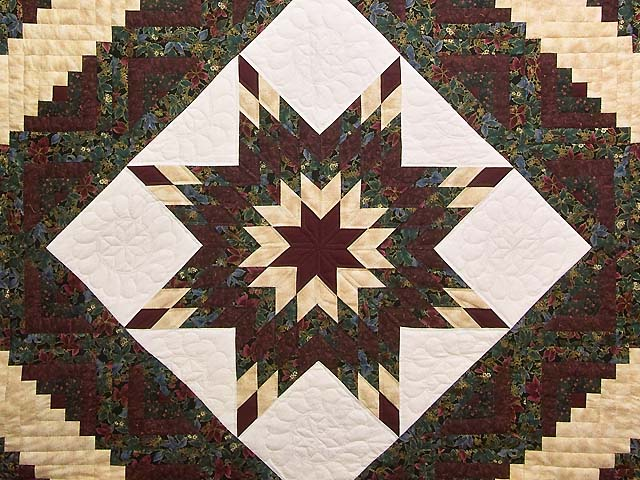 Burgundy Gold and Teal Lone Star Log Cabin Quilt Photo 3