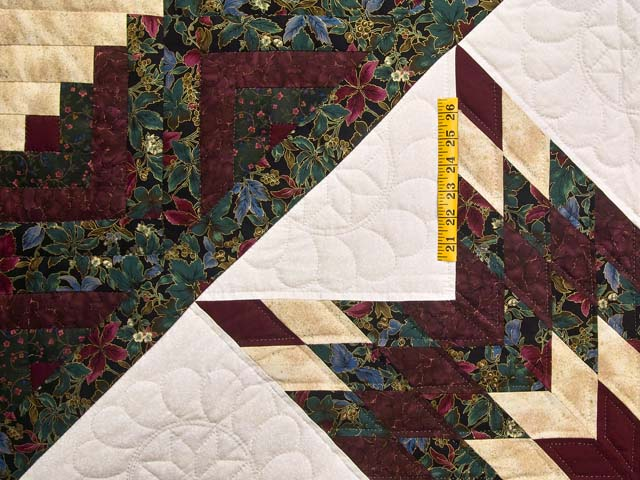 Burgundy Gold and Teal Lone Star Log Cabin Quilt Photo 4