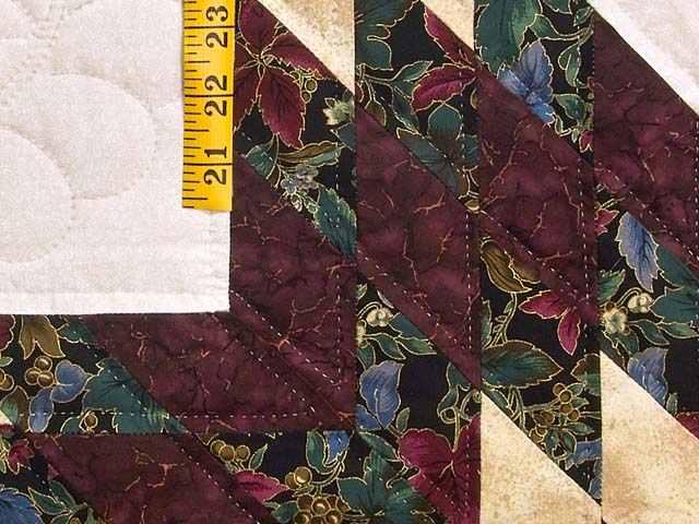 Burgundy Gold and Teal Lone Star Log Cabin Quilt Photo 5