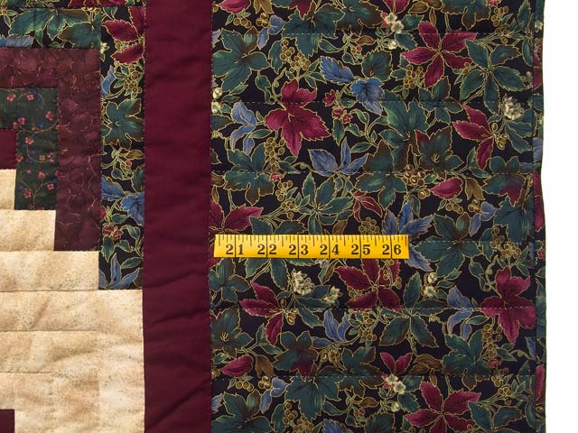 Burgundy Gold and Teal Lone Star Log Cabin Quilt Photo 7