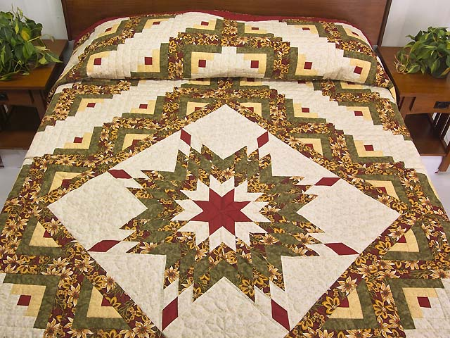 Red Gold and Moss Green Lone Star Log Cabin Quilt Photo 1