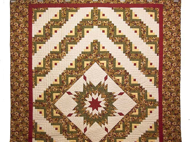 Red Gold and Moss Green Lone Star Log Cabin Quilt Photo 2