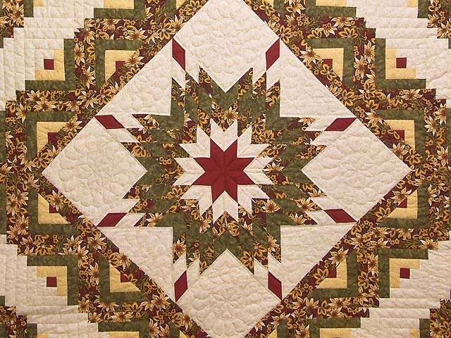 Red Gold and Moss Green Lone Star Log Cabin Quilt Photo 3