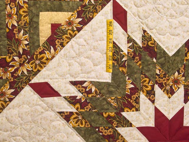 Red Gold and Moss Green Lone Star Log Cabin Quilt Photo 4