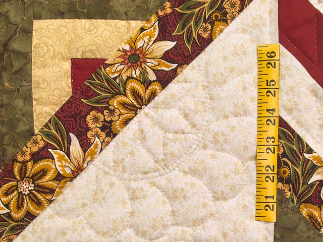 Red Gold and Moss Green Lone Star Log Cabin Quilt Photo 5