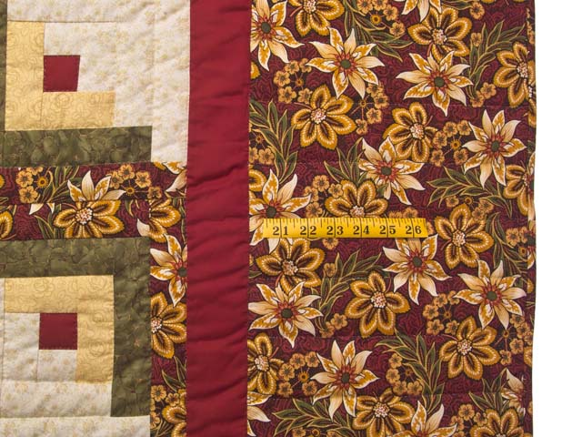 Red Gold and Moss Green Lone Star Log Cabin Quilt Photo 6