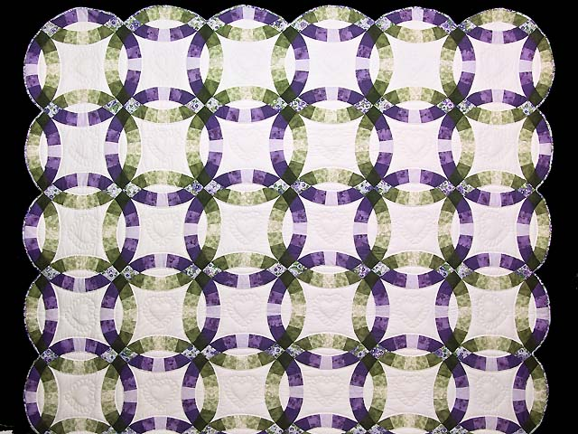 Green and Purple Double Wedding Ring Quilt Photo 2