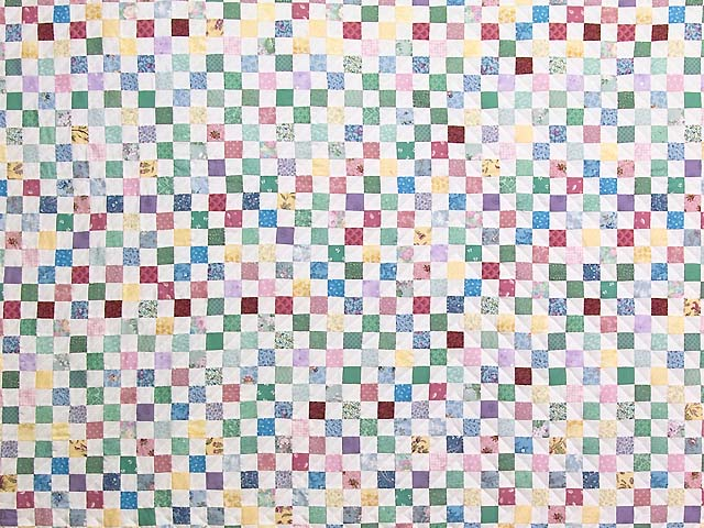 Bright Multicolor Postage Stamp Hit or Miss Quilt Photo 3