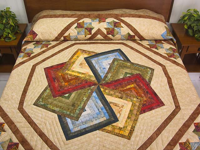 Hand Painted Star Spin Quilt Photo 1