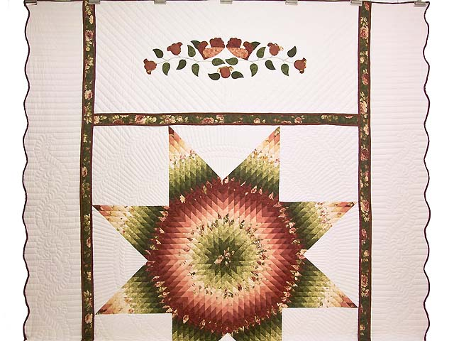 Rose and Green Lone Star Country Bride Quilt Photo 2