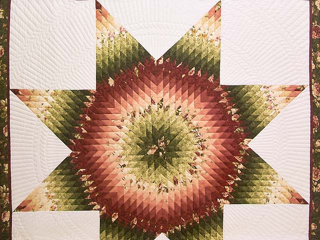 Rose and Green Lone Star Country Bride Quilt Photo 3