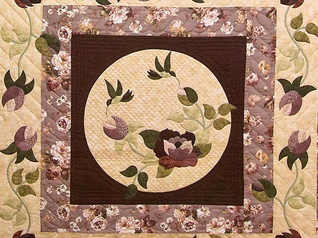 Plum and Green I Promised You a Rose Garden Quilt Photo 3