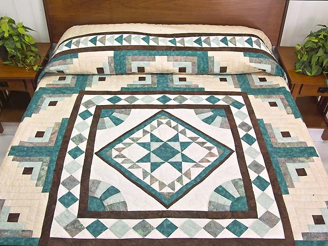 King Teal and Brown Flying Geese Log Cabin Medallion Quilt Photo 1