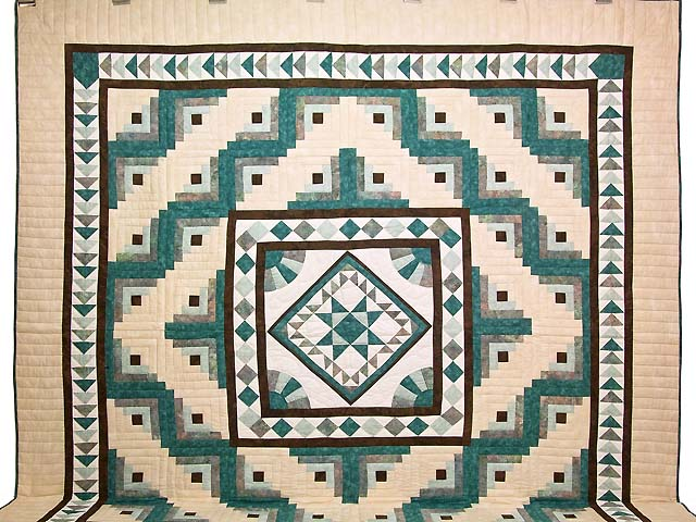 King Teal and Brown Flying Geese Log Cabin Medallion Quilt Photo 2
