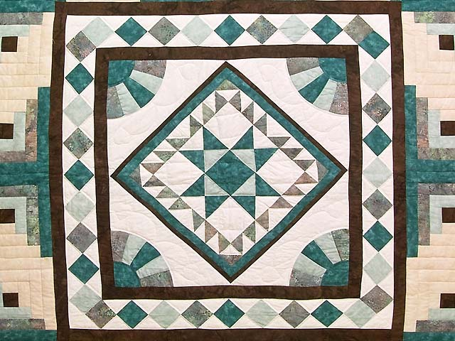 King Teal and Brown Flying Geese Log Cabin Medallion Quilt Photo 3