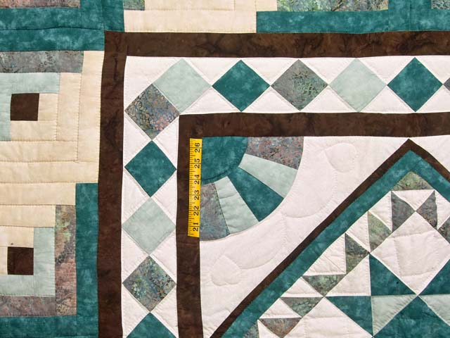 King Teal and Brown Flying Geese Log Cabin Medallion Quilt Photo 4