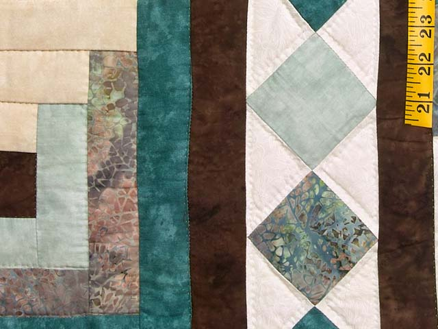 King Teal and Brown Flying Geese Log Cabin Medallion Quilt Photo 6