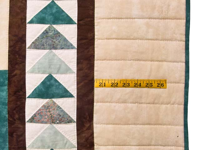 King Teal and Brown Flying Geese Log Cabin Medallion Quilt Photo 7