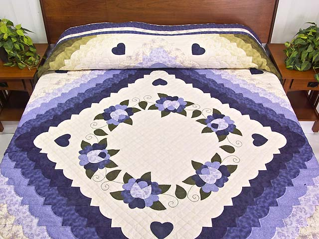 Purple and Green Hearts All Around Applique Quilt Photo 1