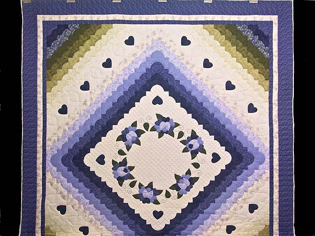 Purple and Green Hearts All Around Applique Quilt Photo 2