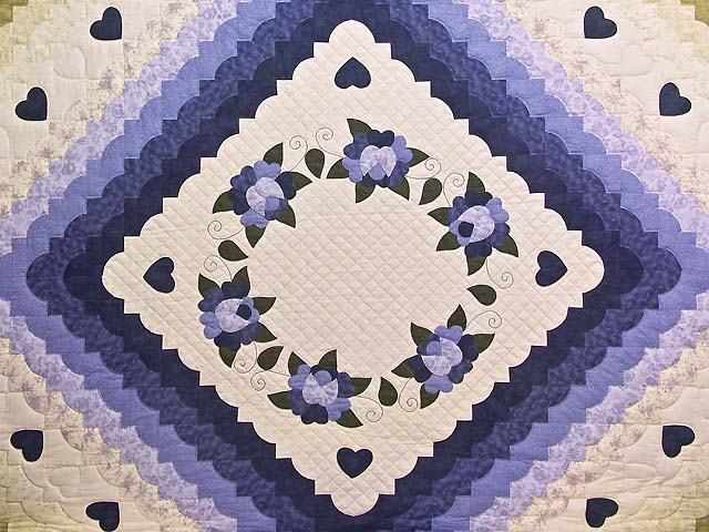Purple and Green Hearts All Around Applique Quilt Photo 3