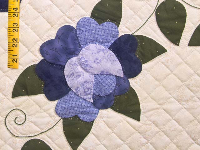 Purple and Green Hearts All Around Applique Quilt Photo 6