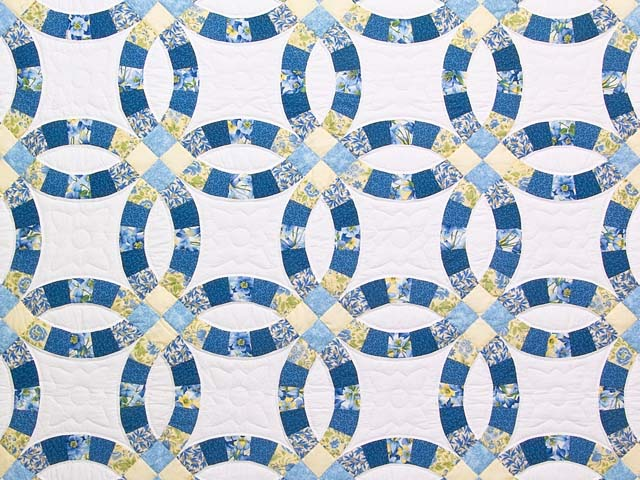 Blue and Yellow Double Wedding Ring Quilt Photo 3